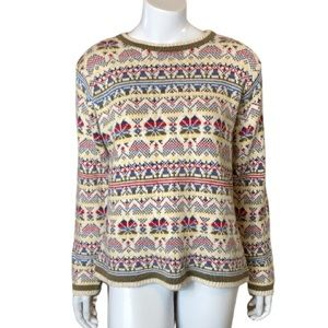 Cottagecore Fair Isle Knit Crew Neck Pull Over Sweater